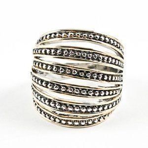 Jewelry - Beautiful Multi Row Micro Bead Open Two Tone Ring